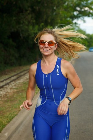 woman running from photo-shoot of Triathletes for the Bicycle Sport Shop