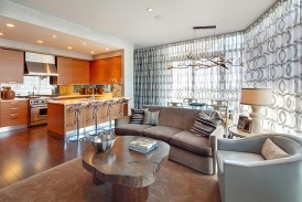 living room and kitchen in the Austonian building.