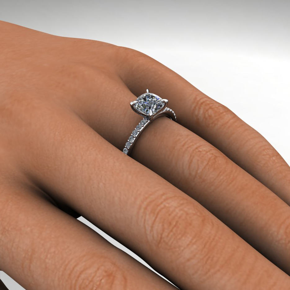 1 carat cushion forever one moissanite engagement ring
