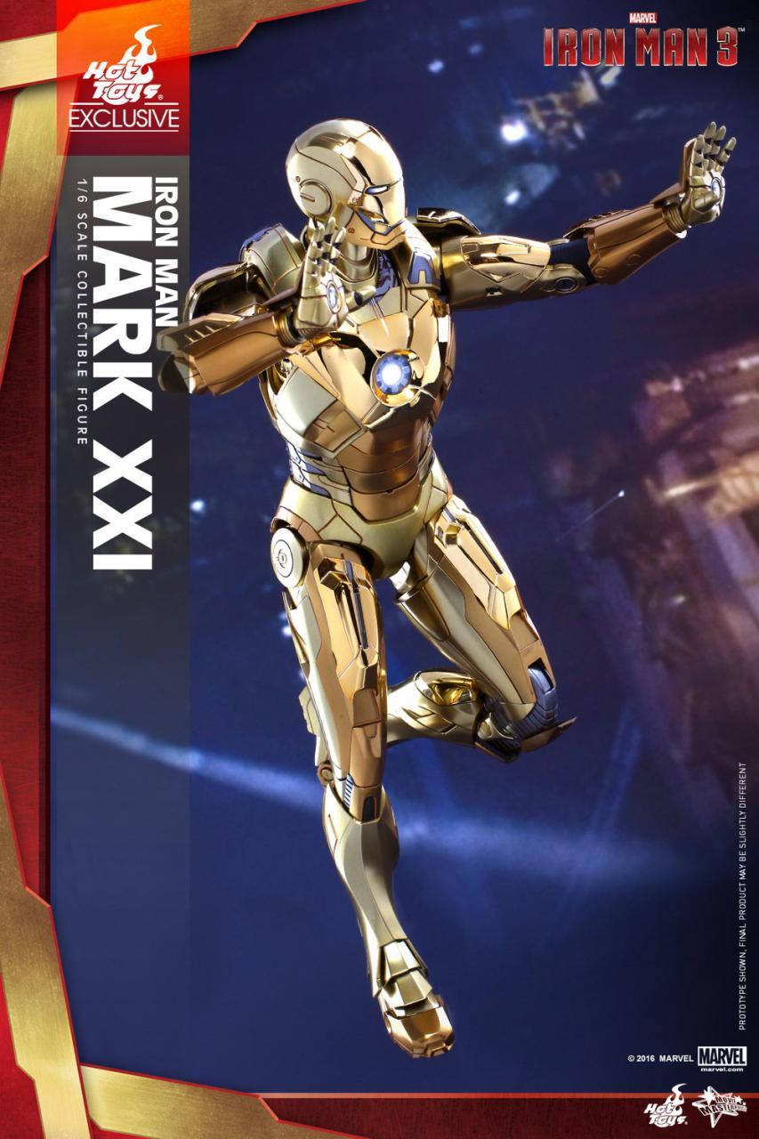 Hot Toys Iron Man 3 Iron Man Mark XXI 21 Midas Gold Chrome Version