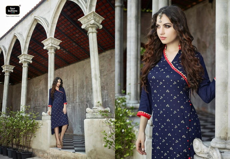 FOUR BUTTONS AMOH COTTON RAYON WITH TABLE PRINT KURTIS