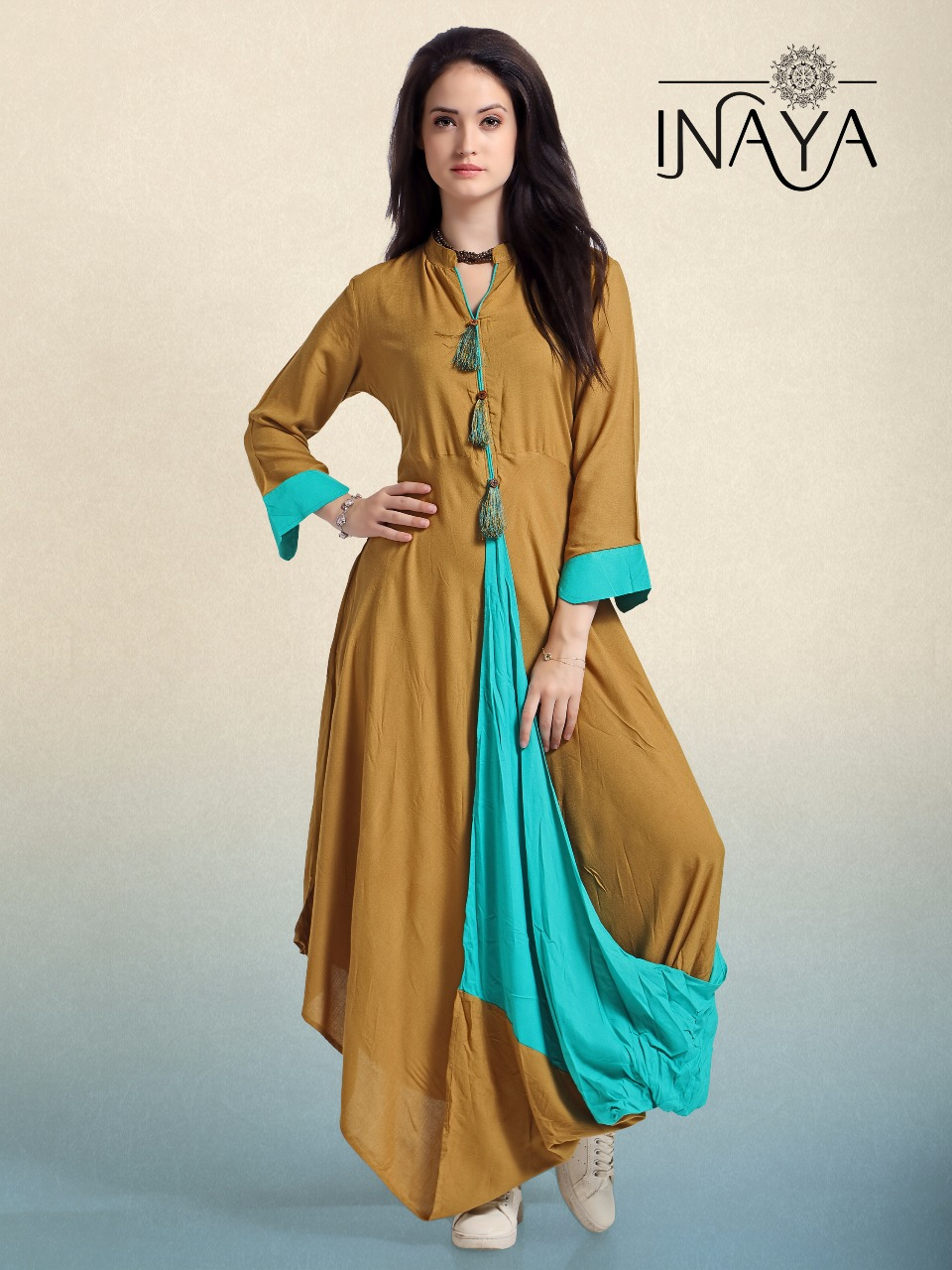 Libas studio inaya stylish cowl k-13 full style gown ready made wear ...