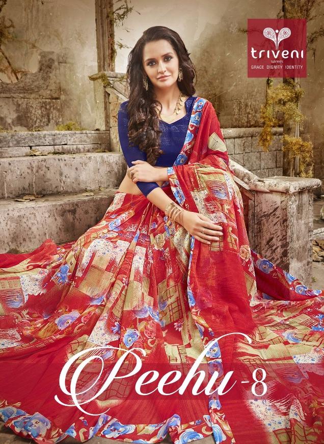 Triveni peehu vol 8 sarees Collection Wholesaler