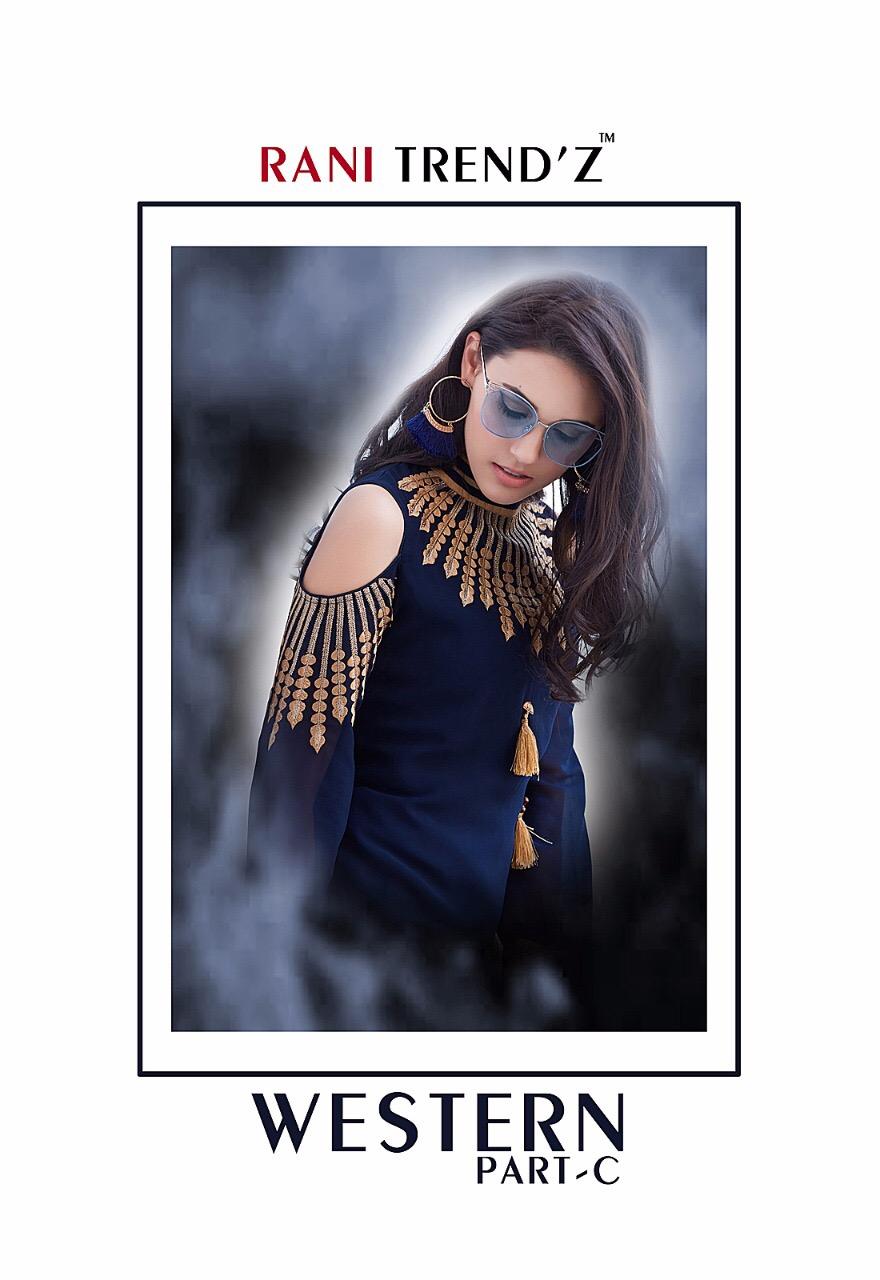 Rani trendz presents western part c summer collection georgette kurtis