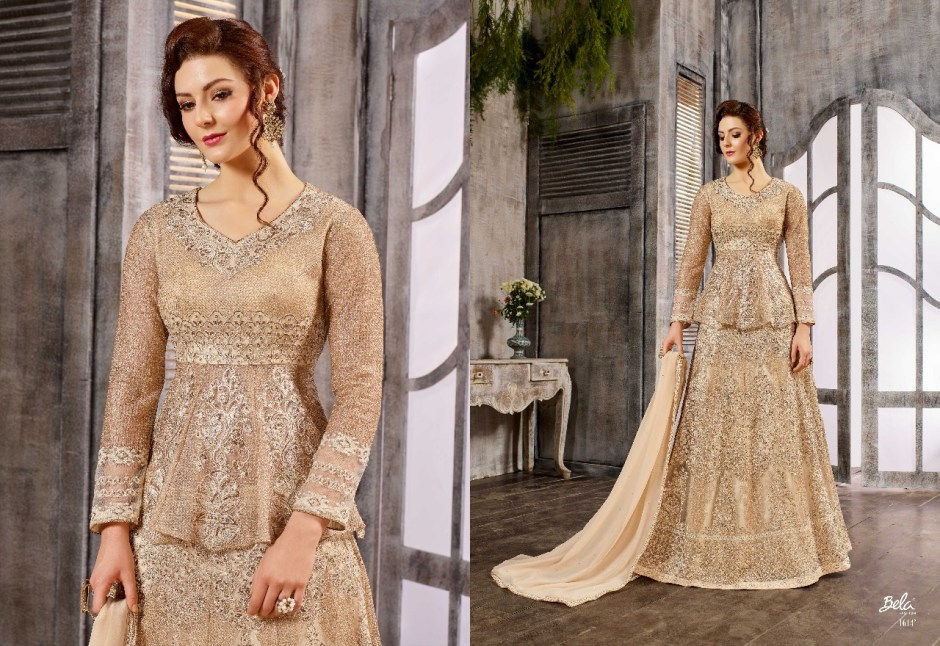 Bela fashion presents celebrations heavy traditional wear indo western gown concept