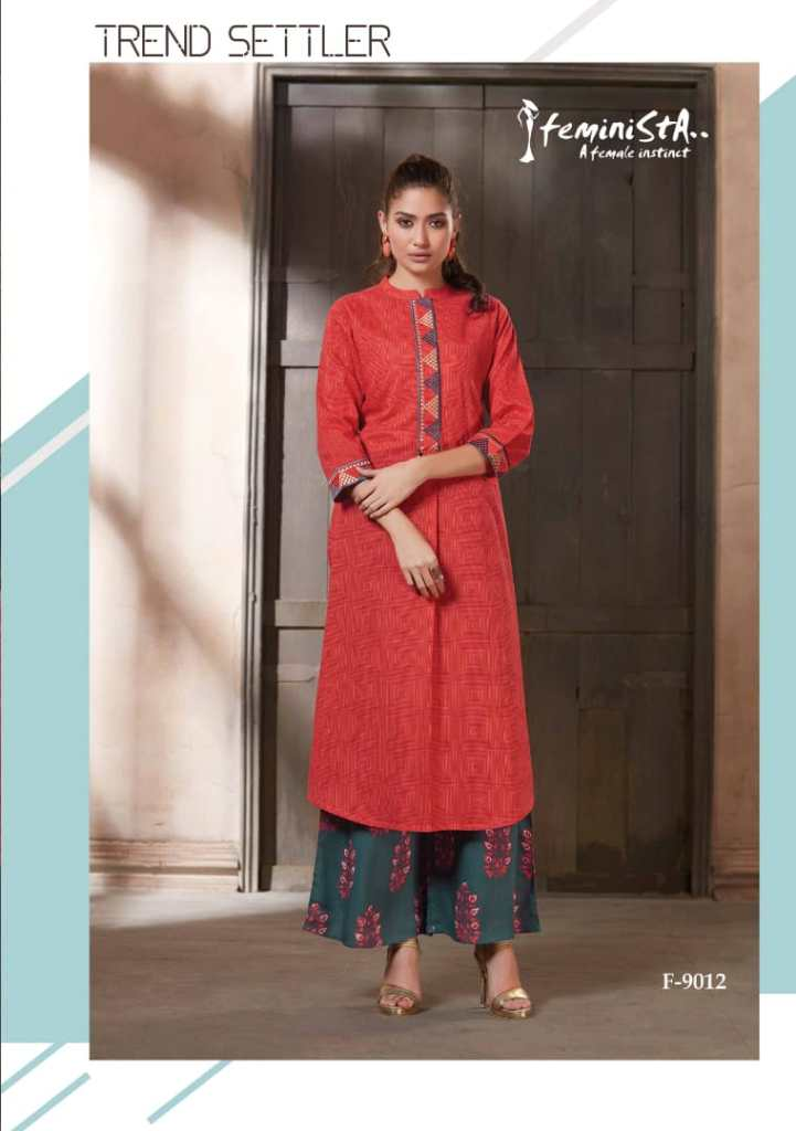 Feminista presents hashtag 2 semi casual wear beautiful kurti with plazzo collection