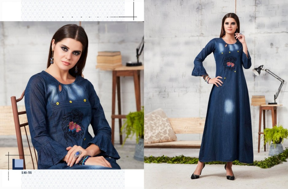 Kajree fashion launch Blue lee vol 2  stylish trendy look denim gowns concept