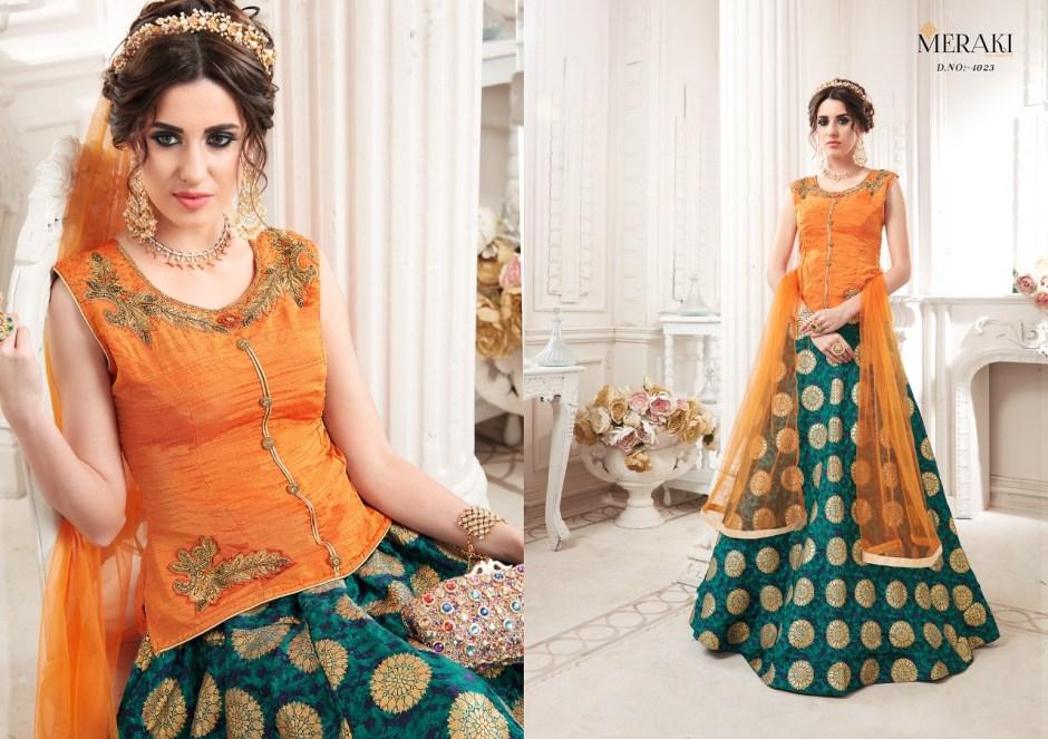 Sanska sarees presenfs meraki raaga stylish party wear crop top lehengha concept
