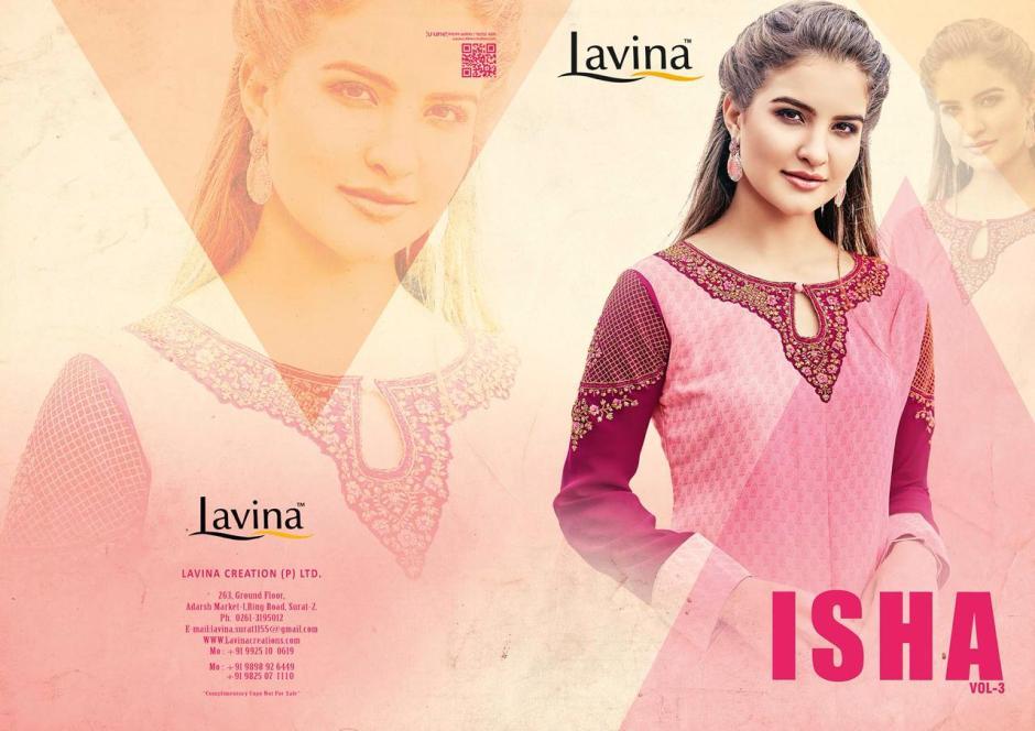 lavina launch isha vol 3 semi casual fancy wear collection of kurtis
