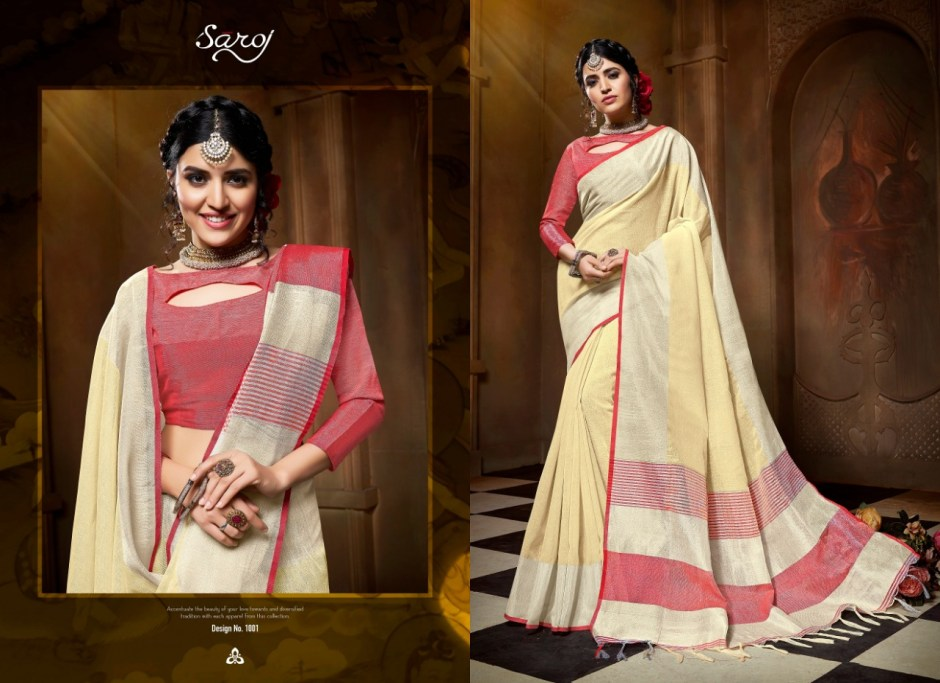 Saroj launch banana stylish party wear linen cotton saree concept