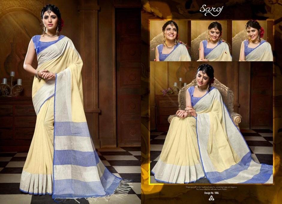 Saroj launch banana stylish party wear linen cotton saree concept