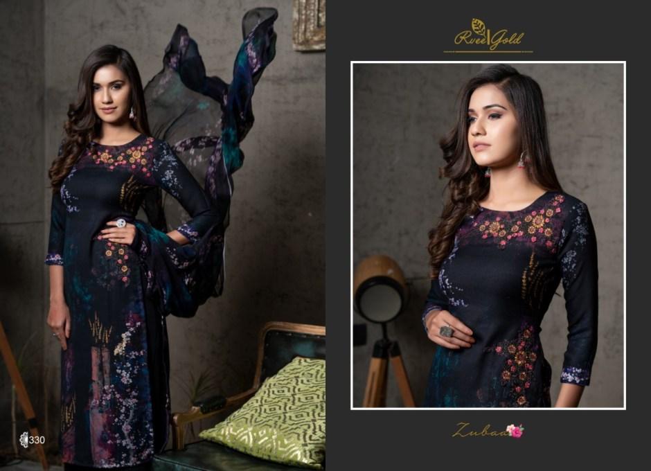 Rvee Gold zubaa Beautiful casual digital printed salwar kameez collection