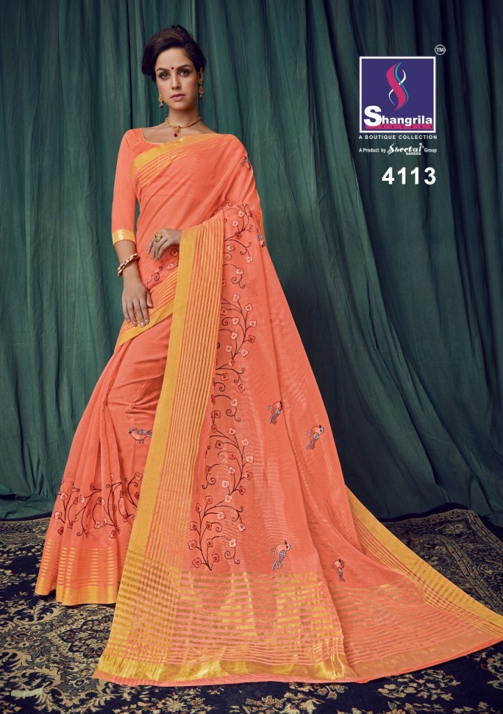 Shangrila liza cotton Exclusive trendy look sarees collection