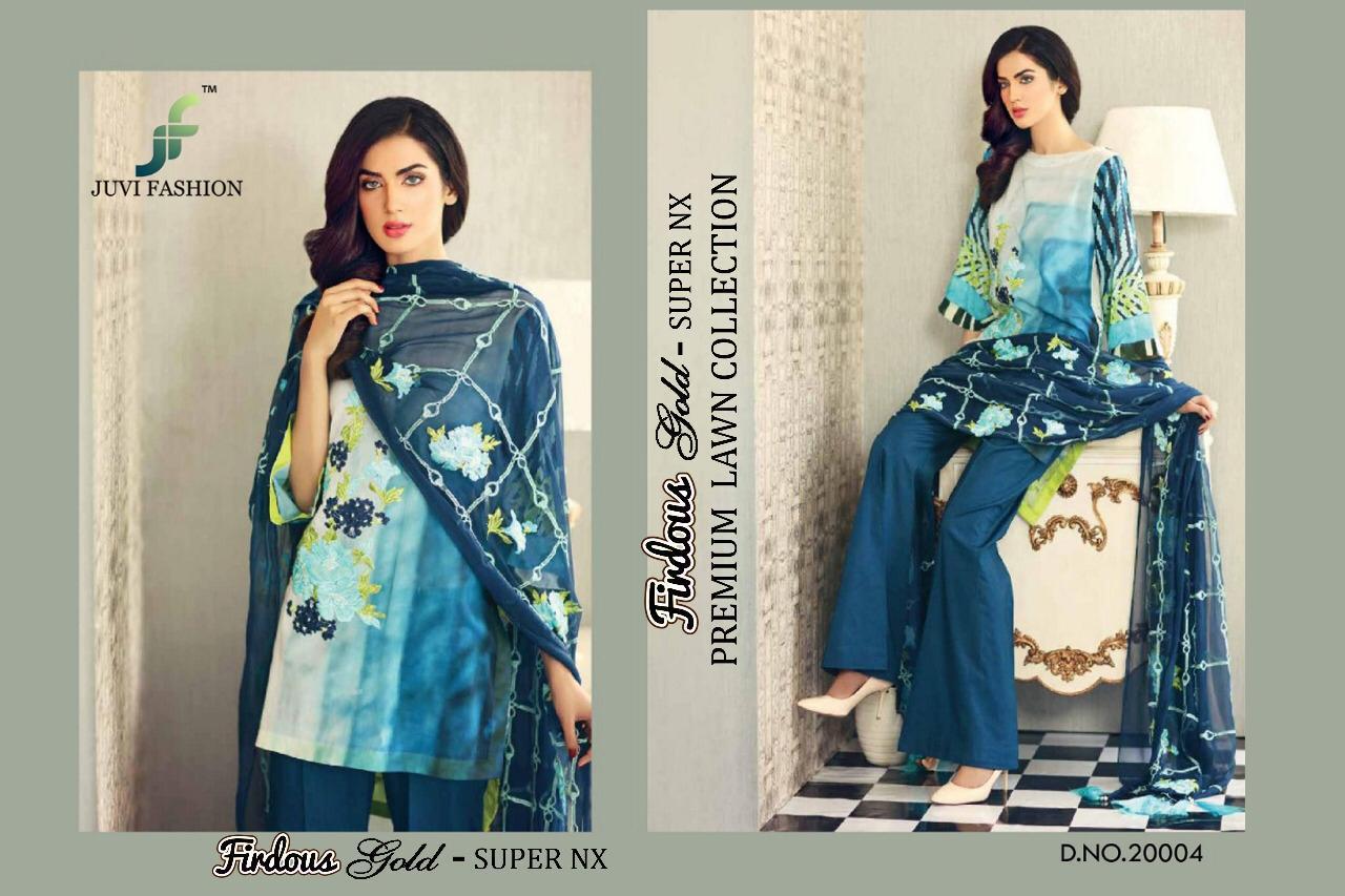 d4ec36da19 JUVI fashion firdous gold super nX premium lawn collection Fancy daily wear  salwar kameez collection