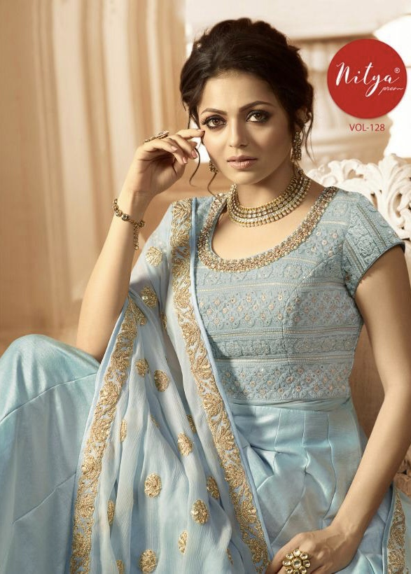 LT fabrics presenting nitya vol 128 special party wear heavy collection indo western gowns