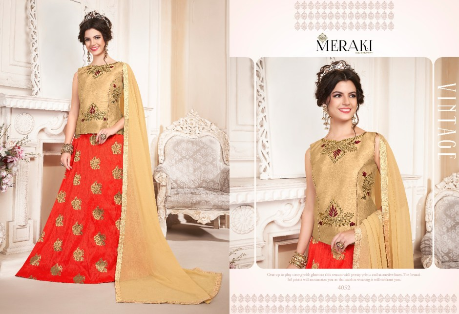 Meraki elegance Stylish crop top with lehenga concept