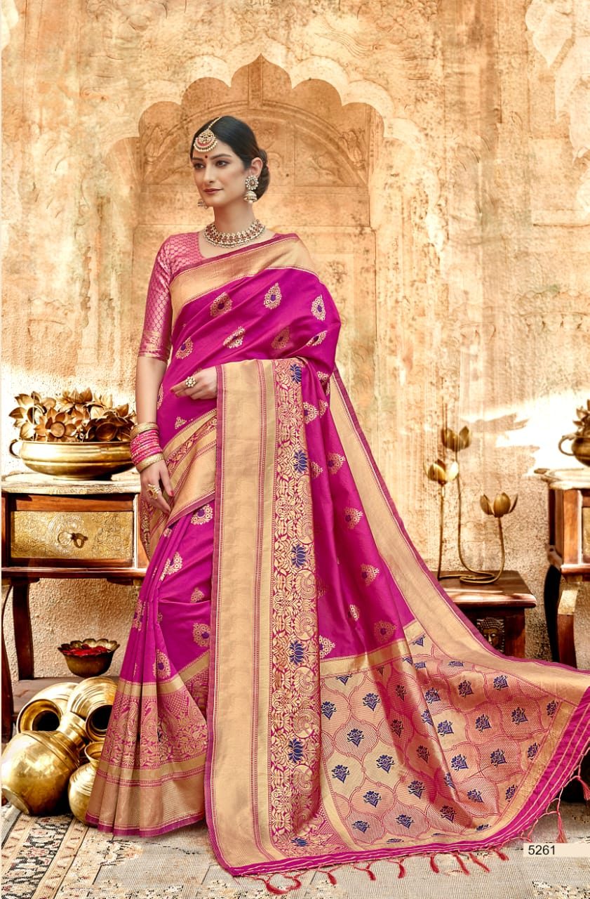 Shangrila sunehri silk Rich look trendy silk sarees collection