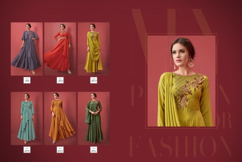 Posh eva beautiful colourful stylish gown ready to wear at wholsale price