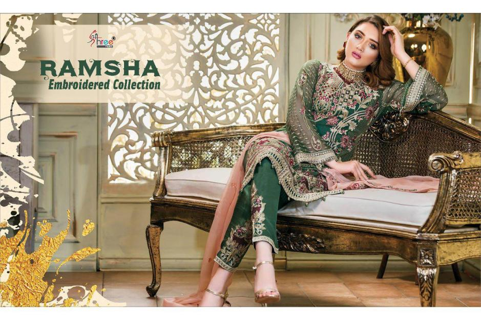 Shree fabs ramsha embroidered collection wedding wear designer suits collection