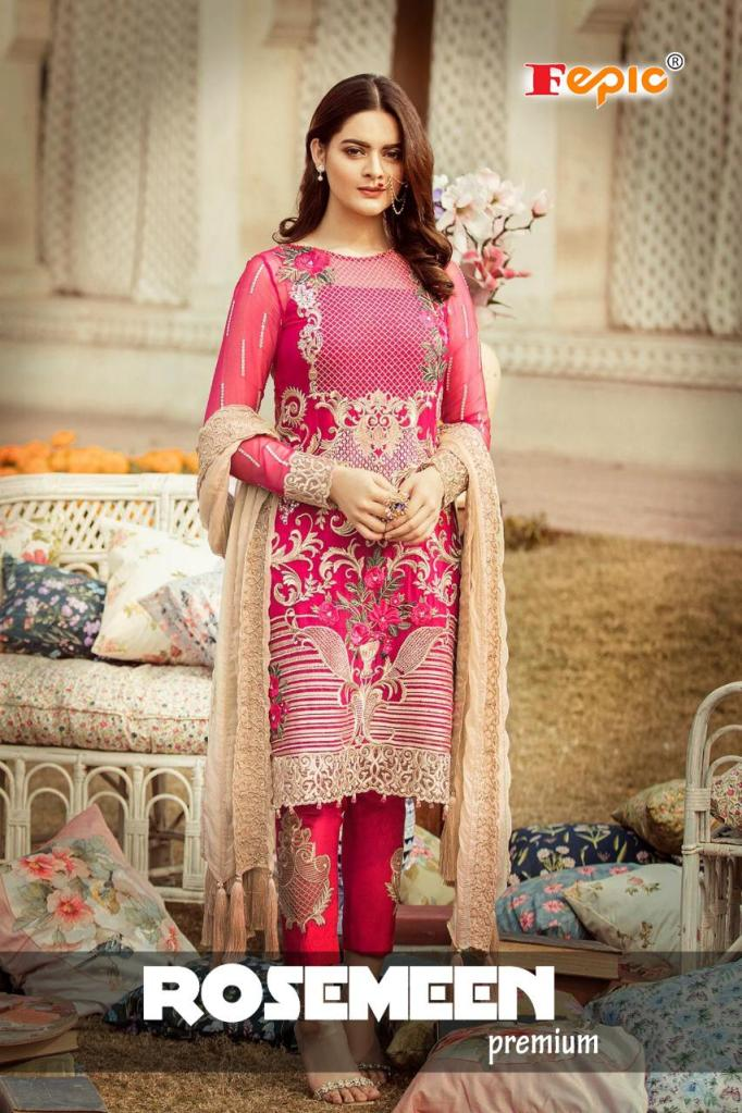 Fepic rosemeen premium embroidered karachi suits collection At Wholesale Rate