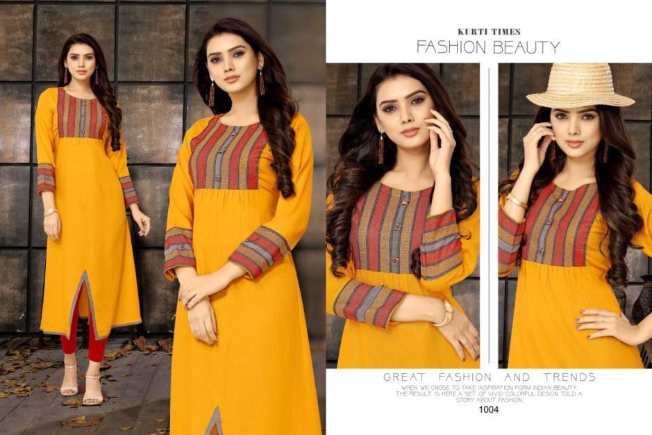 Kurti times kiara long straight rayon kurties collection at wholesale rate