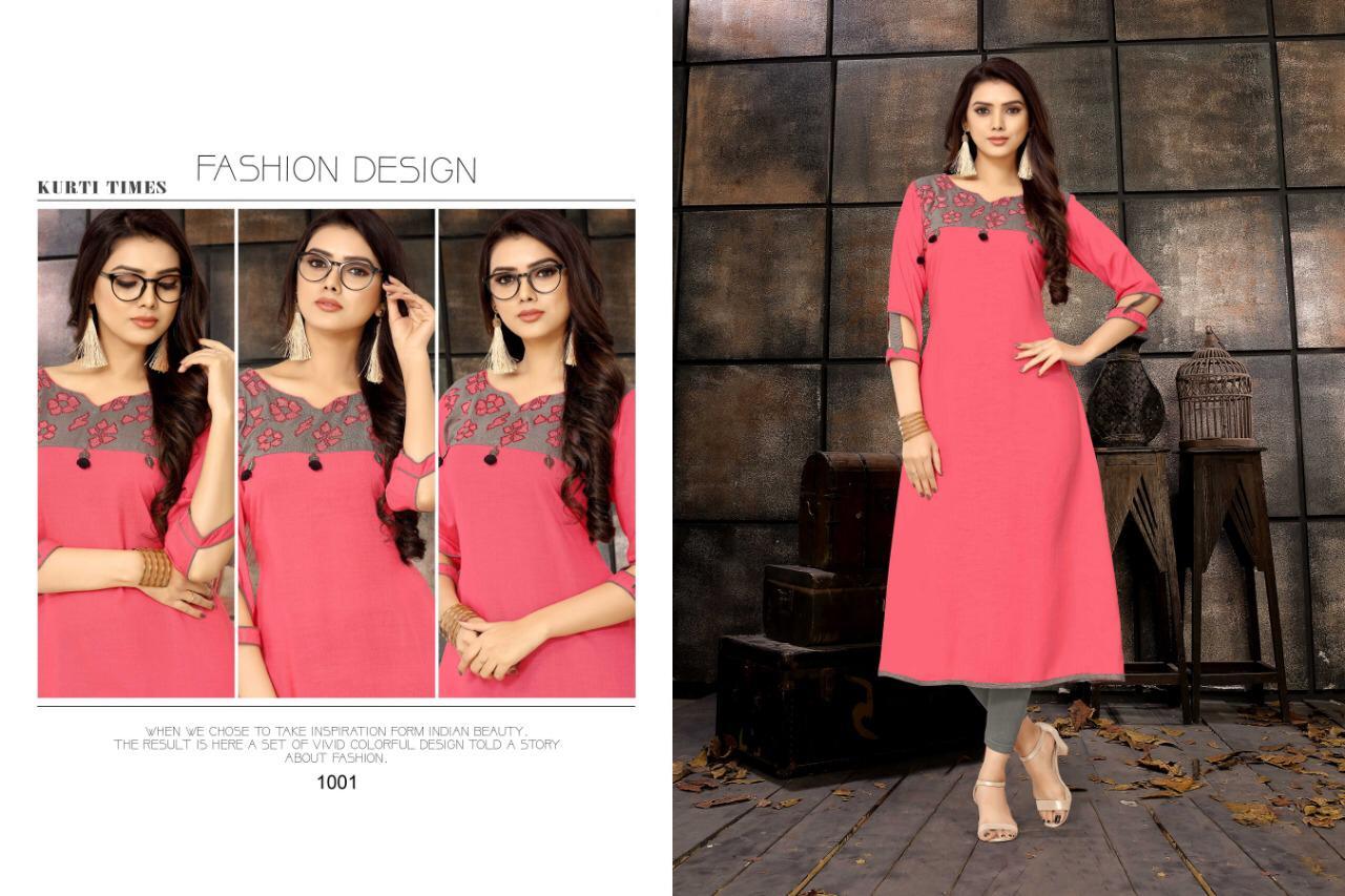 554262e4b6 Kurti times kiara long straight rayon kurties collection at wholesale rate