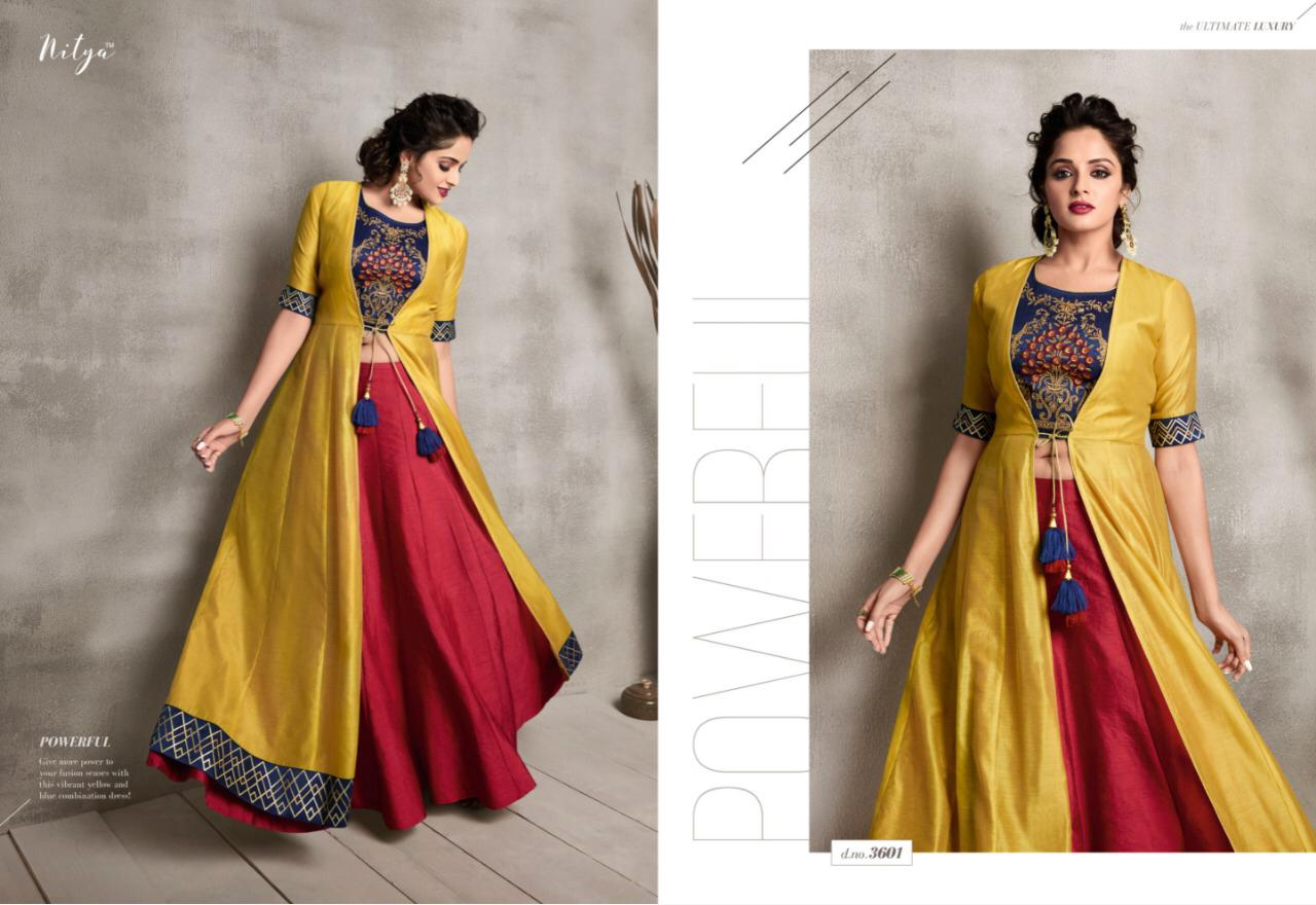 5d5ac6f898 Lt Nitya Vol 36 nx long gown type fancy party Wear Kurties Collection