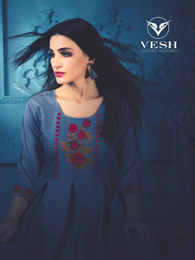 Vesh diana party wear cotton kurties catalog at wholesale rate