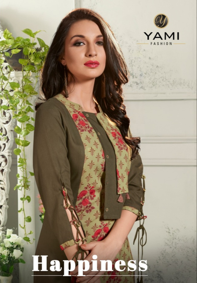 Yami fashion happiness fancy rayon straight kurties collection at wholesale rate