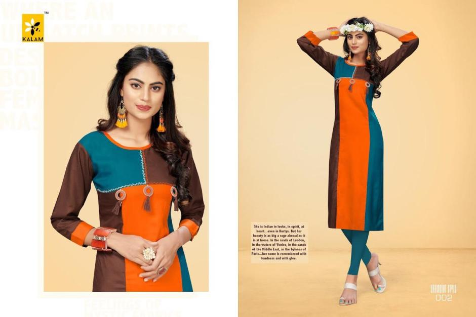 kalam womens colorful regular wear kurtis at reasonable rate