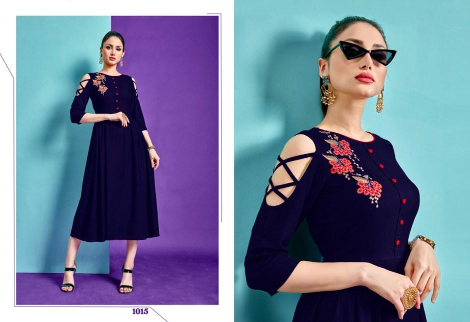 riya designer aara colorful collection of fancy kurtis at reasonable rate