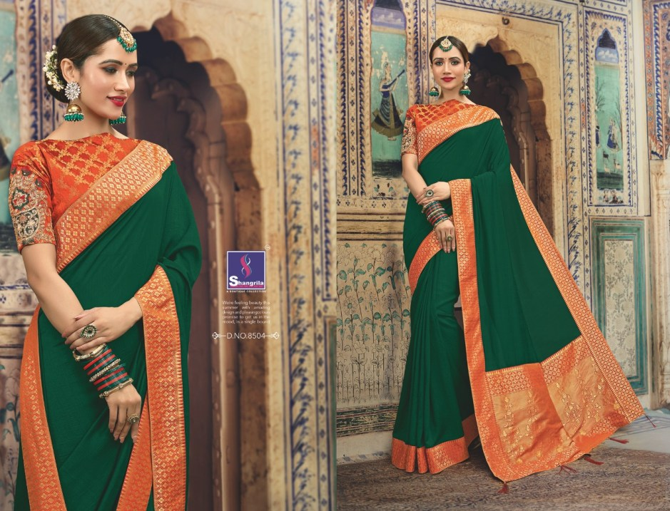 shangrila manyavar silk designer wear silk sarees collection