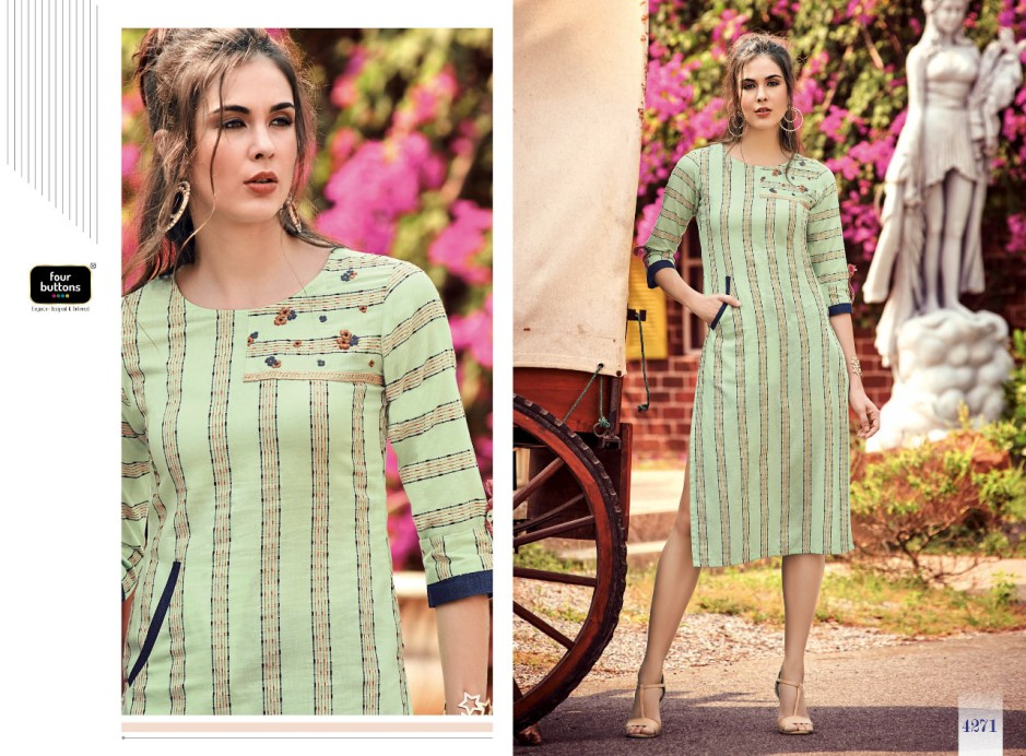 four buttons stripes 4 fancy ready to wear kurtis collection at reasonable rate