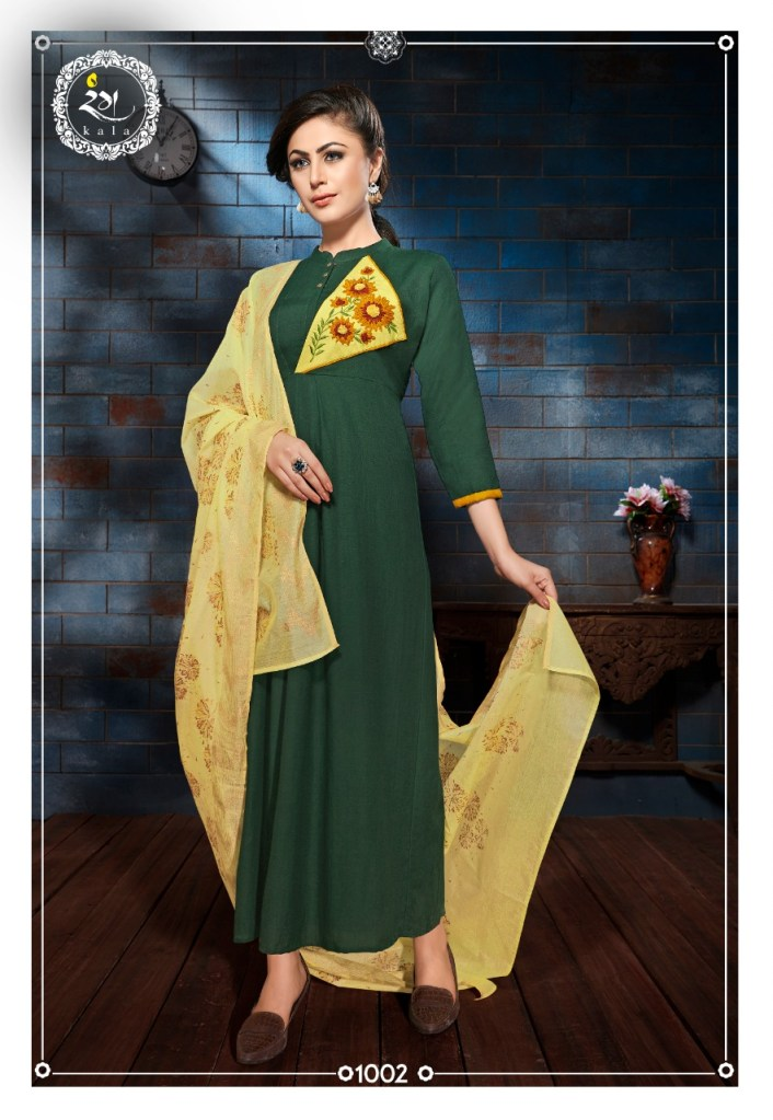 rang kala florine colorful fancy collection of kurtis  at reasonable rate