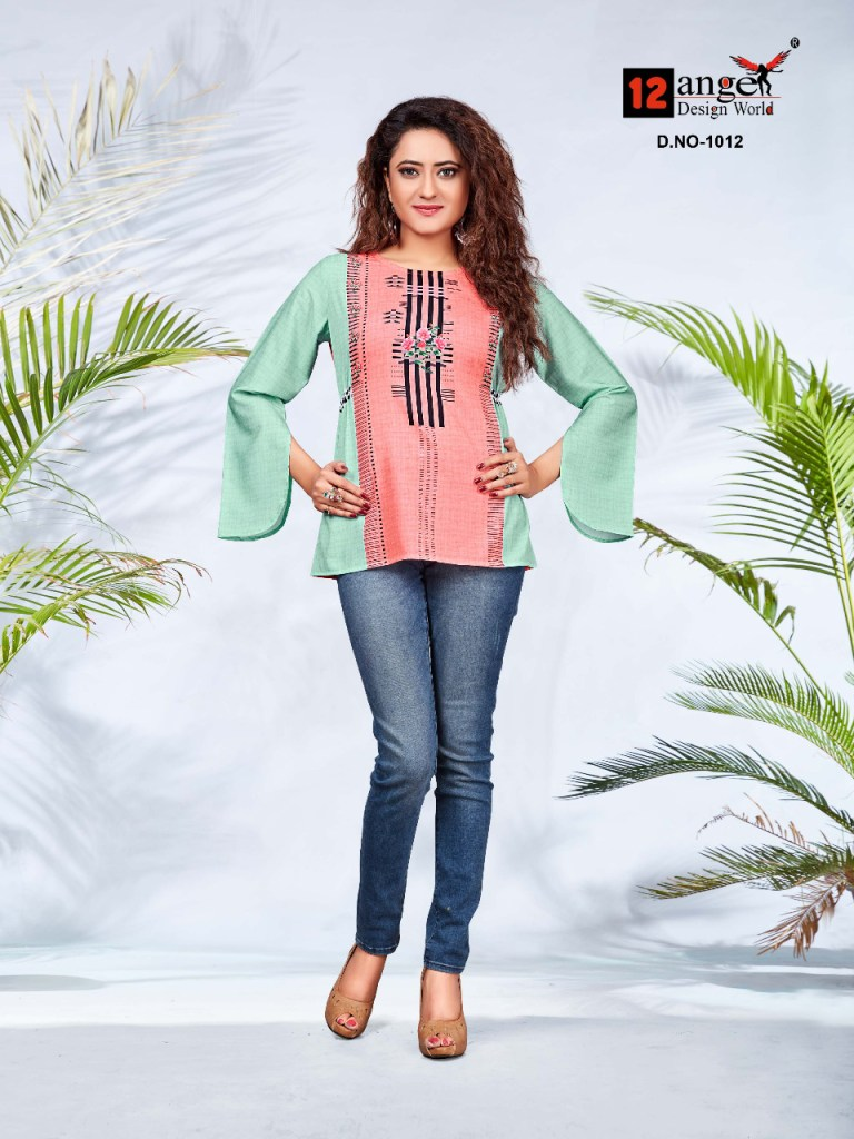 12 angel girlish vol 2 rayon casual wear short top collection