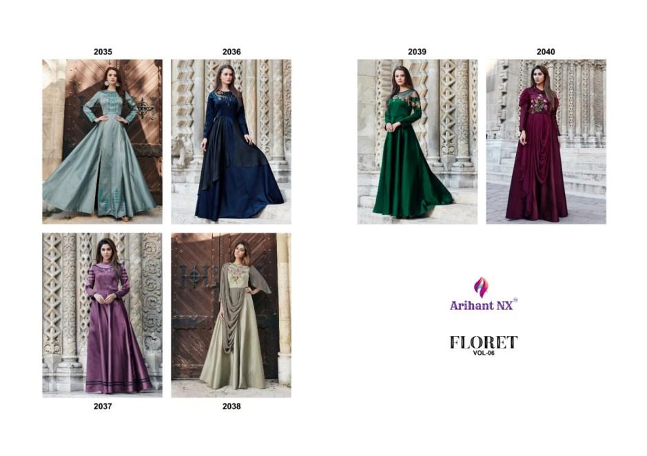 Arihant Designer floret vol 6 long beautiful gown wear collection at wholesale rate