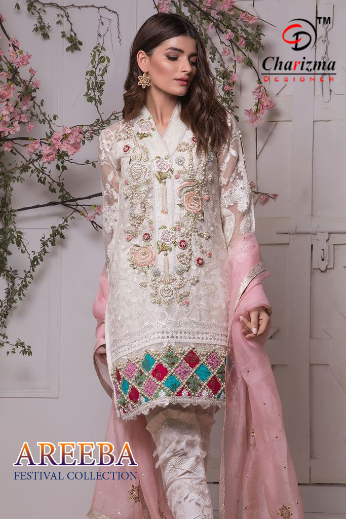 Charizma designer areeba heavy embroidered pakistani salwar kameez collection