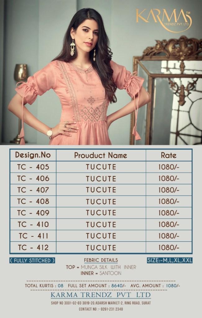 Karma trendz tucute 405-412 Series kurties collection