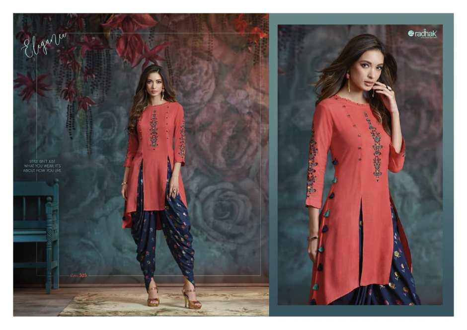 Radhak fabrics maanaa vol 5 party wear kurties with dhoti collection