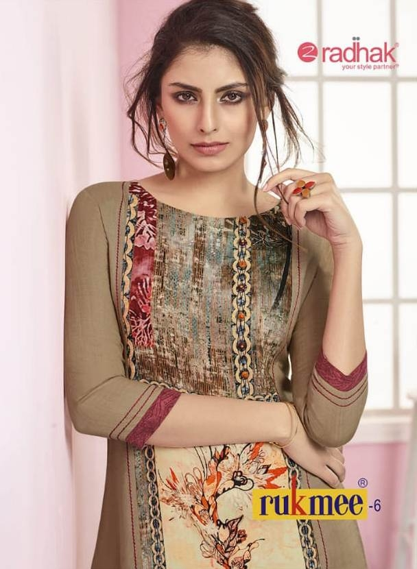 Radhak fabrics rukmee vol 6 fancy kurties catalog