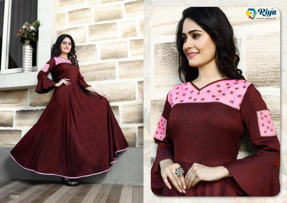 Riya designer alisha vol 2 long flair gown style kurtis