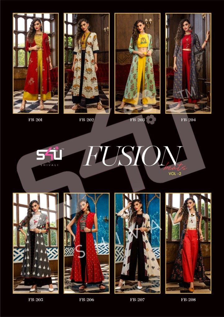 S4u by shivali presents fusion beats vol 2 fancy kurti with shrug ready to wear outfit