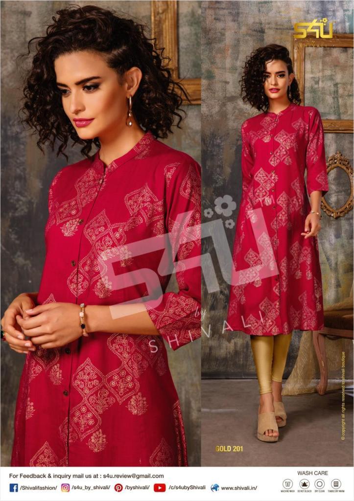 S4u by shivali presents Gold vol 2 summer wear fancy kurties catalog