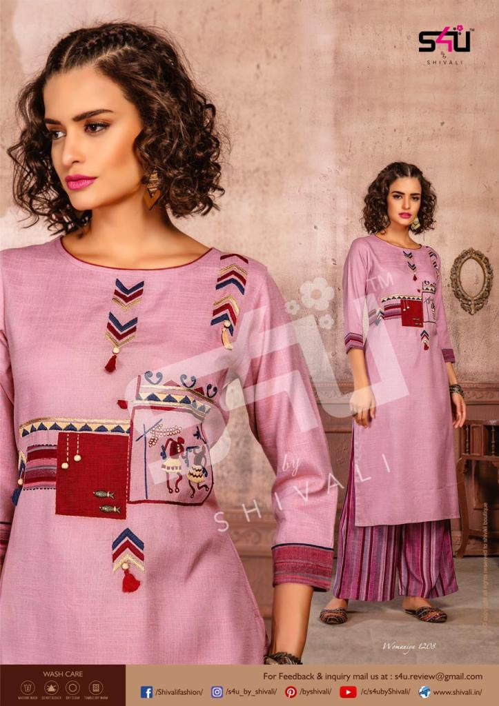 S4u by shivali womaniya vol 12 beautiful printed kurties with plazzo