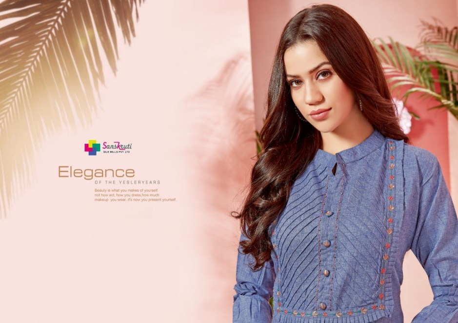 Sanskruti silk mills zahira cotton embroidered kurties collection