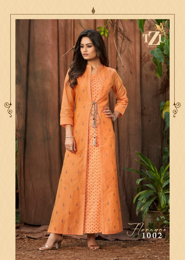 Tzu lifestyle florance long kurti with shrug catalog dealer