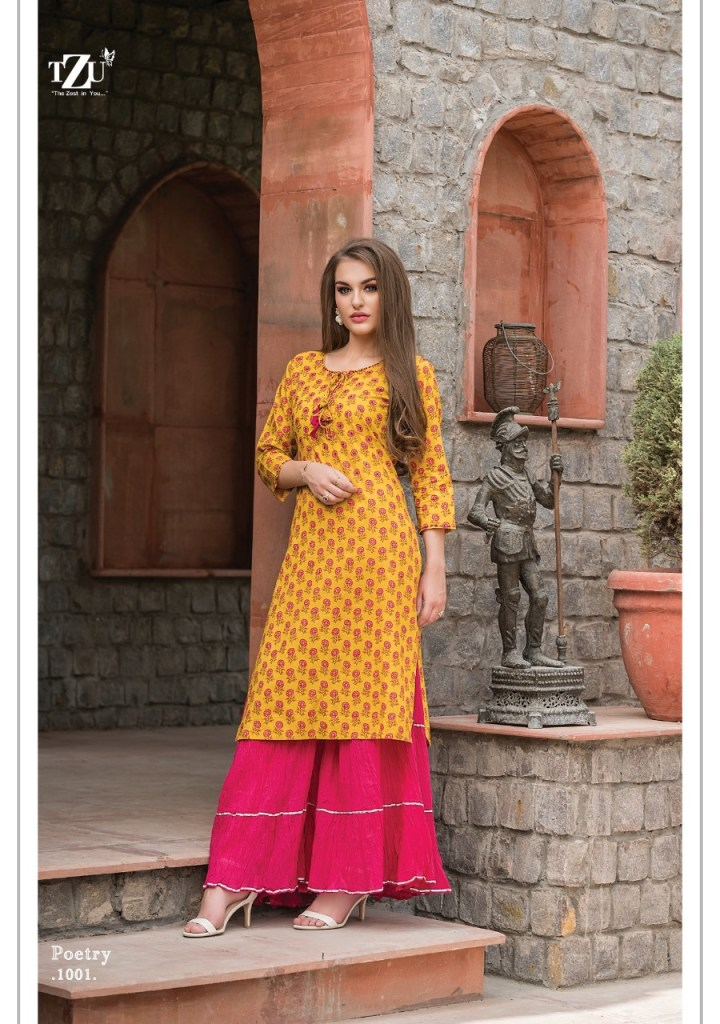 Tzu lifestyle poetry straight kurties with sharara collection at wholesale price