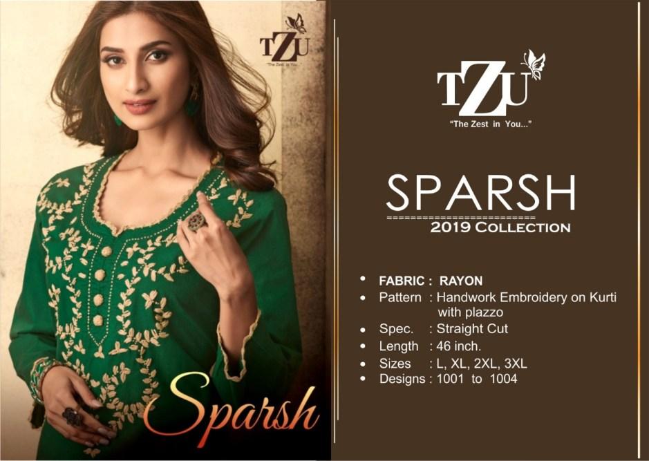 Tzu lifestyle sparsh a-line rayon kurti with plazzo wholsaler