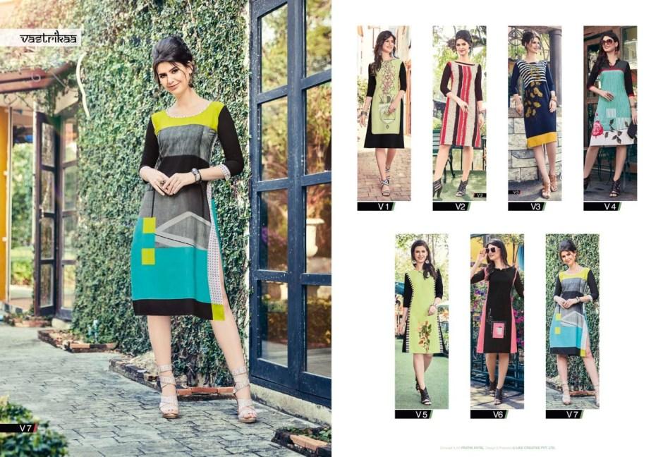 Vastrikaa shades vol 6 daily wear colourful kurties catalog