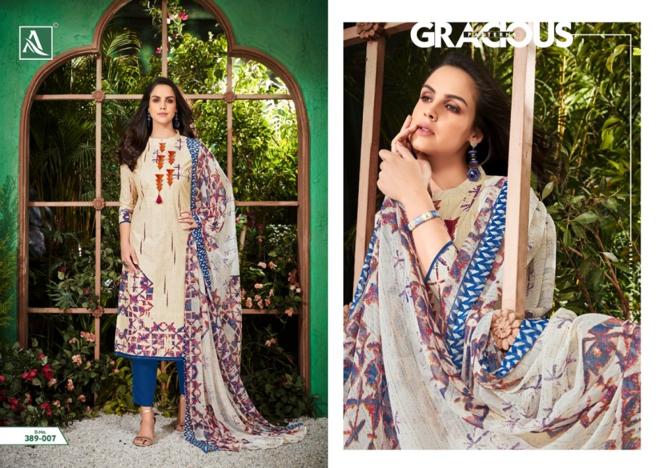 Alok suits white beauty cotton printed salwar kameez